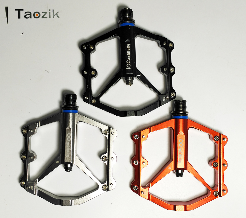 Big discount! 260g Taozik Alloy replaceble pins thin CNC machined sealed bearing ultralight MTB BMX DH platform bicycle pedal<br>