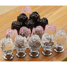 8Pcs 16mm Crystal Glass Cabinet Knob Drawer Pull Handle Kitchen Door Wardrobe Hardware