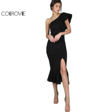 COLROVIE Black Party Dress 2017 Women One Shoulder Frill Peplum Hem Sexy Elegant Summer Dresses Slim Ruffle Split Bodycon Dress(China)
