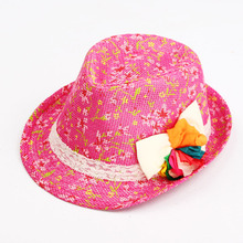 Flower Baby Hat Little Girl Floral Summer Straw Beach Hat Kids Fashion Fedora Hat Boys Jazz Cap Photo Head Wear Sun Cap 003(China)