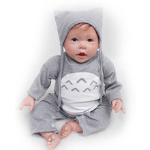 Buy Realistic Reborn Baby Dolls 20'' Cosplay Boy Wear Grey Clothes Baby Dolls Silicone Touch Soft Lifelike Reborn DIY Kits Xmas Gift