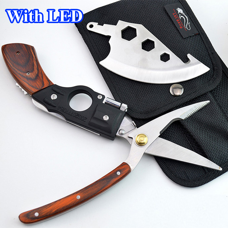 With LED ! 5 in 1 Portable Multifunction Survival Hand Tools Axe + Knife + Saw + Scissors Gun Shaped Wooden Handle Hunting Knife<br>