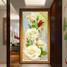 30x55cm 5D Diamond Painting Embroidery Stitch Kit Home Decor Craft DIY Needlework Yellow Rose Diamond Rhinestone Painting