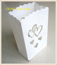 50pcs/lot White Wedding Paper Candle Bags Luminaire Love Heart Candle Bags Decorations  9*15*26cm Free Shipping