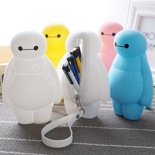 6 Colors baymax Silicone Pencils Bags Cute 3D Plush Pencils Case 2016 New Large Capacity School Supplies Stationery Hot Pen Box