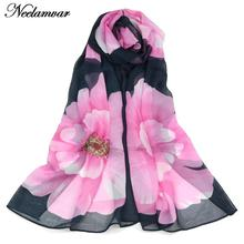 new 2015 spring fashion women silk  chiffon scarf large flower pattern shawl thin long scarves China wholesale