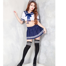 2017 New Hot Sexy Costume Women New Japanese School Uniform Girls Student 2Pcs Top and Skirt Sailor Babydoll Erotic Lingerie(China)