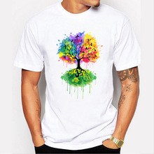 summer men color trees inverted image t shirt white polyester o neck man tops short sleeve straight simple tee casual 6 sizes