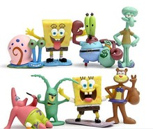 Animation 8 pcs/set Sponge Bob Model Hand to do Action Figure Toys Doll Cute Cartoon Sponge Bob Vinyl Doll Classic children toys