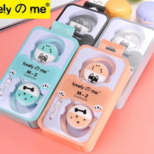 Cute Cartoon Little Cat 3.5mm Stereo Ear Hook Sport Earphone With Microphone Kawaii Earbud For Phone MP3 iphone xiaomi
