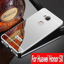 Luxury For Huawei Honor 5X 5C Case Aluminum Metal Frame Brushed Mirror Cover Case For Huawei Honor 5x 5C for Huawei Honor 7 Lite