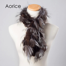 Genuine Knitted Women rabbit fur Fox Fur Scarf Scarves Wrap Neck Warmer Shawl Stole winter scarf(China)