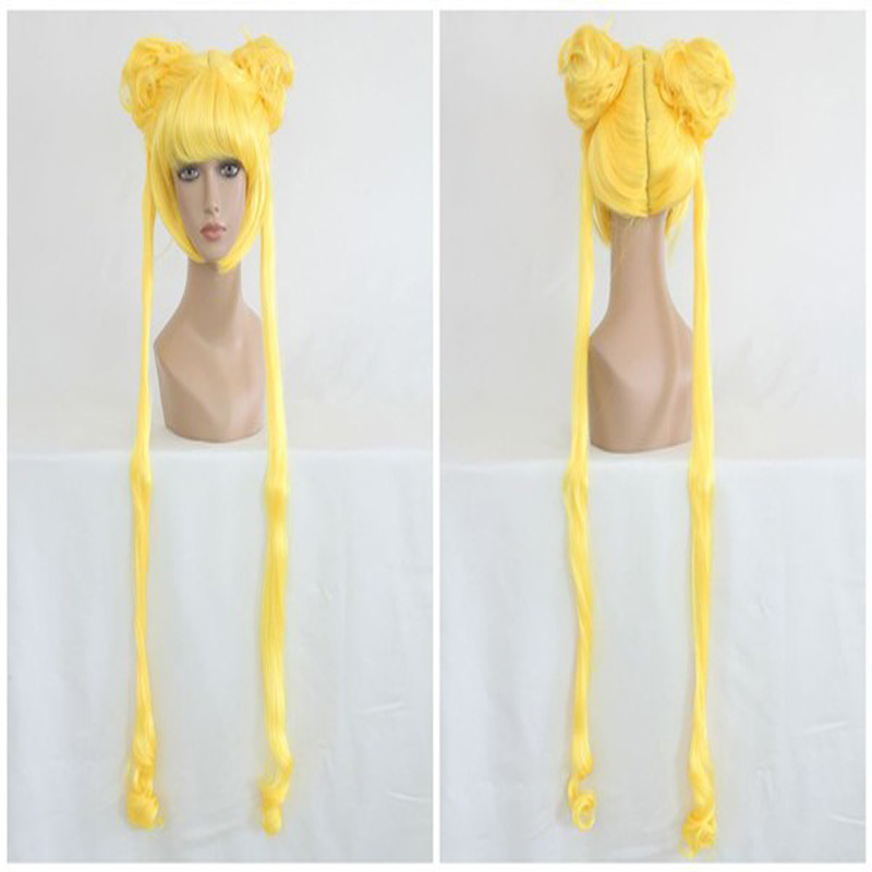 HAIRJOY  Anime Sailor Moon Lemon Yellow Two Braids  Wavy Cosplay Wig 140cm Long Synthetic Costume Wig<br><br>Aliexpress