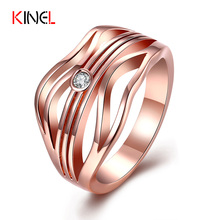 Unique Streamline Women's Ring Gold Plated CZ Diamond Jewelry 2017 NEW Wedding Rings For Women Anel Gift Wholesale