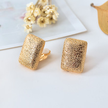 Cute rectangle Ear Clips for Girls square wedding women clip earings no pierced hole gold punk clip-on earrings for women