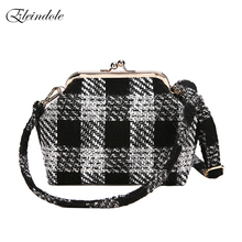 Eleindole Stylish Female Messenger Bags Plaid Panelled Fashion Ladies Messenger Bags Shell Knit Korean Style Women Shoulder Bags(China)