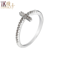 TANGKA Sale Fashion Girls Ring Color Zircon Silver Color Cross Bronze Ring Join Charity Party Premium Women Wear Jewelry(China)