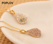 POPLOV Charm Full Crystal Long Gold Silver Color Metal Chain Pendant Necklace Fashion Vintage Rhinestone Jewelry For Women(China)