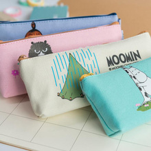 1X Kawaii Cute Naughty Moomin Canvas Pen Pencil Bag Storage Bag Stationery School Office Supply Kids Gift Pouch(China)