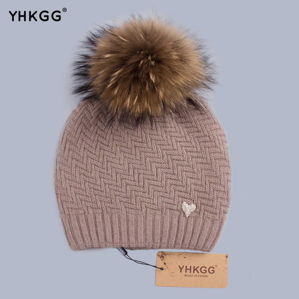 YHKGG Geometric Skullies Beanies Mink and Fox Fur Winter Hats Womens Wear Hats Wool Knitted Hat Girl Thick Cap Female H004Одежда и ак�е��уары<br><br><br>Aliexpress