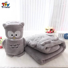 Cute grey owl blanket portable reelable automotive coral fleece doll plush toy baby shower kids gift office nap carpet Triver