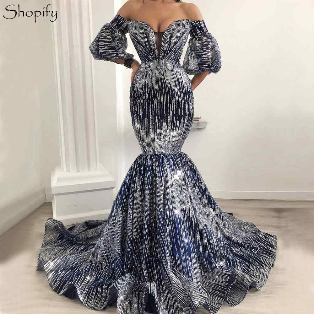 Detail Feedback Questions about Long Glitter Evening Dress 2018 Sexy Mermaid  Short Sleeve Sparkly abendkleider Navy Blue Women Formal Gowns robe de  soiree ... 60c1cfc8b3cc