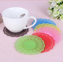 100 creative wedding sweet retro translucent silicone pad insulated hollow lace coasters wedding gifts(China)
