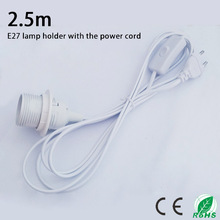 2.5m Suspension E27 lamp holder,The power cord length of 2.5m, round plug and switch ,White luster E27 base with external thread(China)