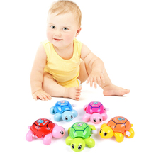 Cute Clockwork Tortoise Cartoon Animal Turtles Baby Toys Infant Crawling Wind Up Toy Educational Kids Classic Toy Random Color(China)