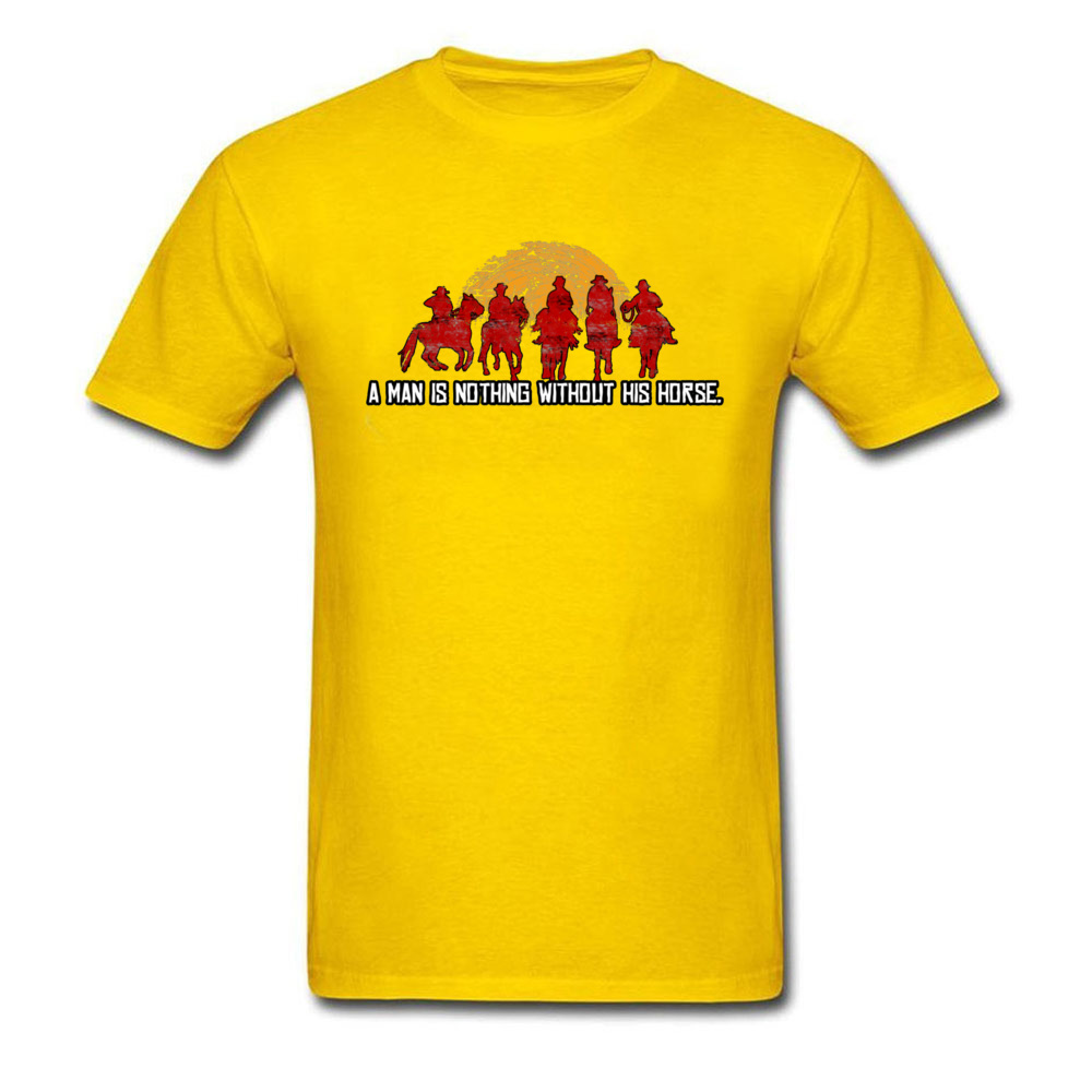 Slim Fit Custom T Shirt for Men Pure Cotton Labor Day Tops Tees Customized Tee-Shirt Short Sleeve Funky O-Neck Red Horse Sunset Nothing Without Horse Red yellow