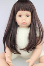 Large size 75CM  silicone reborn doll kits long hair girl doll  toys matching 9M-1 years old baby clothing girls gift