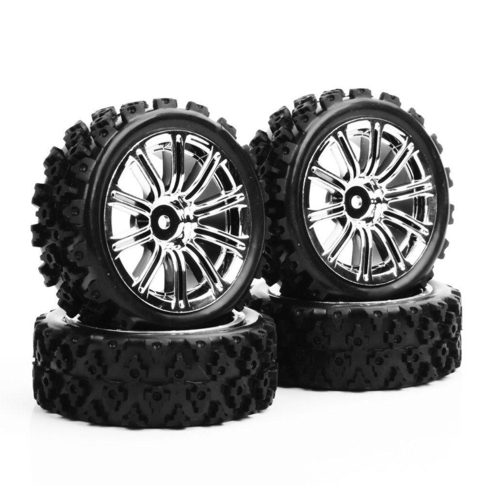 4pcs/set  PP0487+3MC  1/10 RC Rally Racing Off Road Car Rubber Tires Wheel Hub Rim Electroplated tires Toys Collections Gifts  <br><br>Aliexpress