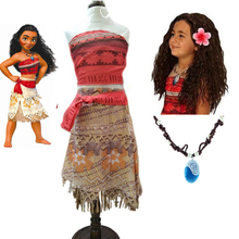 2018 Summer Moana Dress girls Moana Princess Dresses Kids Party Cosplay Costumes Wig Children Clothing clothes