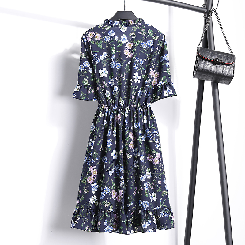 2018 Free Shipping New Fashion Floral Chiffon Summer Dresses Sweet Thin Word Slim Women Work Wear Print Dress Casual Cute Hot 14
