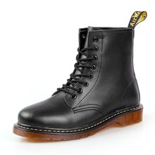 Mannen Laarzen Winter Warm Lederen Martens Schoenen Mannen Motorfiets Enkellaars Doc Martins Herfst Casual Hombre Pluche Oxfords Schoenen Mannen(China)