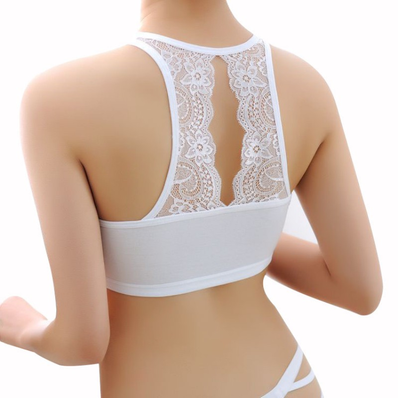 Sexy Women Cotton Hollow Back White Shirt Tube Top Padded Bra Wrap Chest Bra Cropped Clothing 7