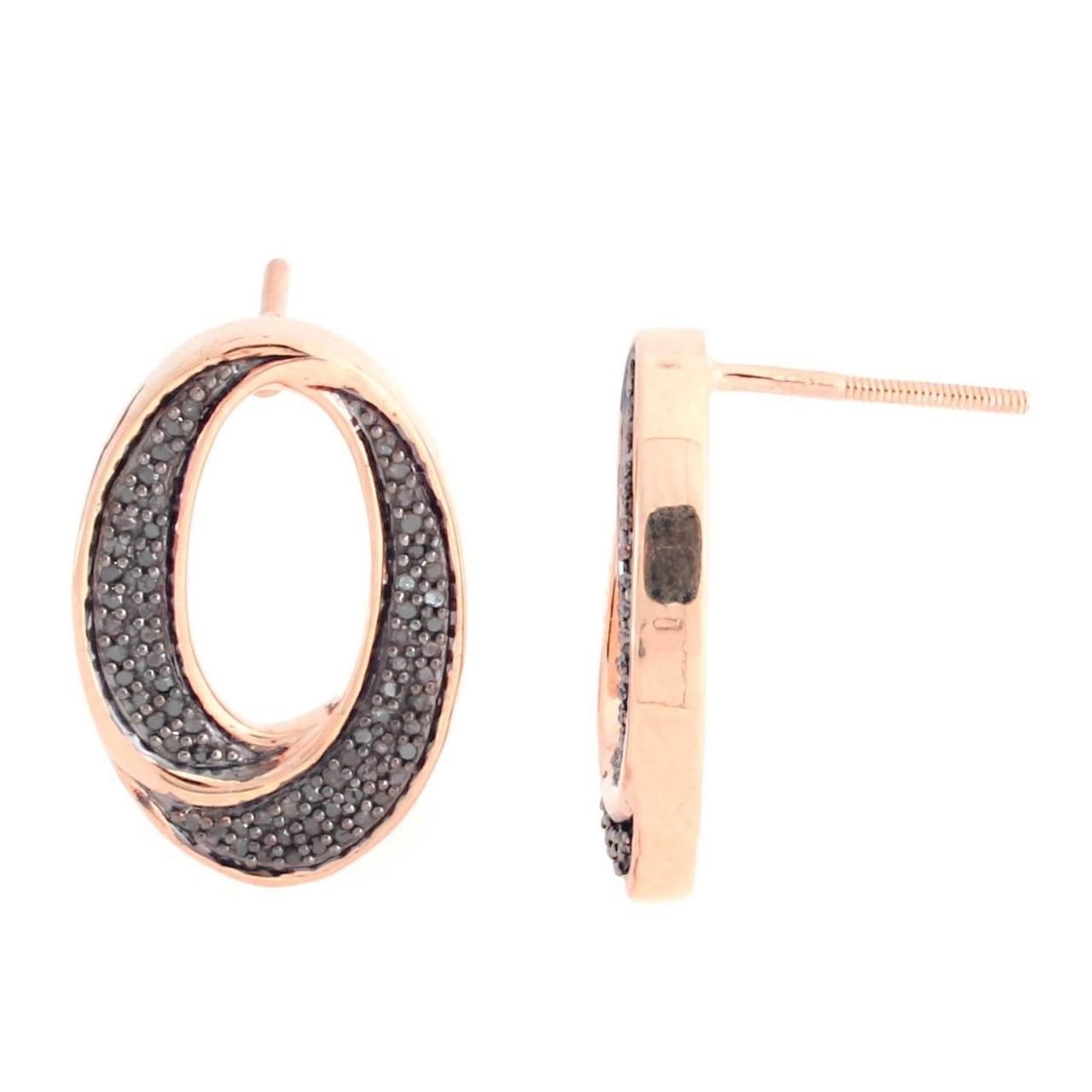 18K Rose Gold Over Sterling Silver 0.30 ct Black Diamond Stud Earrings Q608 (1)
