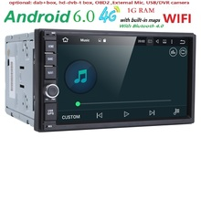 QuadCore Android 6.0 car 2din universal Car Multimedia Player Stereo GPS Navigation car radio Monitor SWC DVR WIFI 4G BT NO DVD(China)