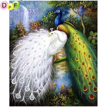 DPF DIY The white peacock 5D diamond embroidery diamond painting cross stitch needlework crafts diamond mosaic square home decor(China)