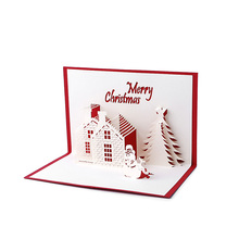 Handmade 3D Pop Up Holiday Greeting Cards Christmas Cottage Castle Thanksgiving(China)