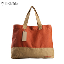 VEEVANV 2017 Leisure Fashion Handbags Ladies Tote Shoulder Bag Women's Men Canvas Handbag Garment Duffle Shopping Bags Wholesale(China)