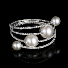 3 Row Elegant Rhinestone Crystal Round Simulated Pearl Stretch Bangle Bracelet Wholesale/Retail Drop Shipping Hot Sale 2016