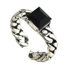 MeMolissa Korean-style super-retro personality carved mirror imitation black gem ring influx of people