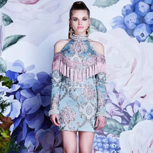High-grade Luxury Custom Top Dress 2017 Spring Summer Jacquard embroidery Beaded tassels Long Sleeve Off Shoulder Shirt Dresses
