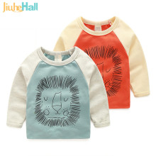 Jiuhehall 3-7 Ages Children's Long Sleeve Tee Tops Cartoon Lion Print Kids T Shirts Cotton O-Neck Boy Girls Clothing CMB839