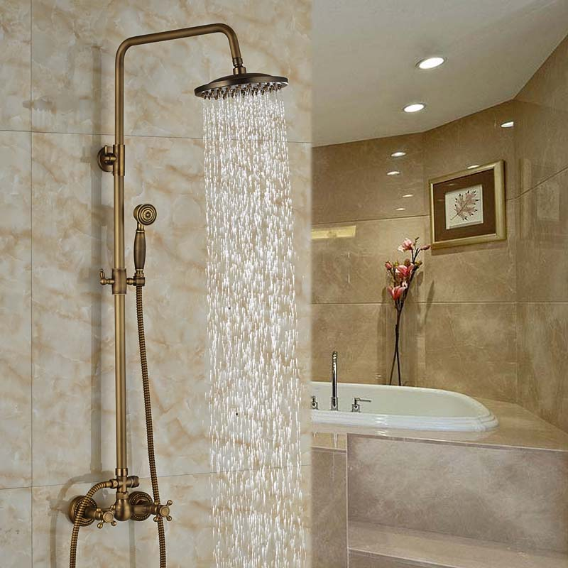 Dual Handle Wall Mount Brass Shower Mixer Faucet 8 Rainfall Shower Hot Cold Tap with Handheld Shower<br><br>Aliexpress