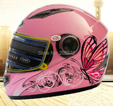 women's pink butterfly full face Motorcycle helmet, Turbo Motorbike motocross 827 knight Racing helmets,Hot sell(China)