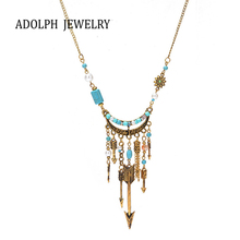 ADOLPH Jewelry For Women National Style Accessories Concise Style The Arrow of Love Simulated Pearl Pendant Statement Necklace(China)