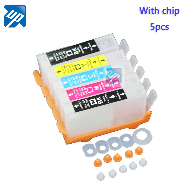 UP brand 10sets refillable Ink cartridge for  364 with chip for  B109 B110 B209 B8550 B8553 B8558 C309 C5300 C5380 C6300 D5400