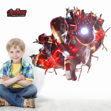 3d effect iron man hero through wall stickers for kids rooms nursery wall art decals decor The Avengers wallpaper diy poster(China)